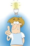 Man withenergy saving  lightbulb over his head