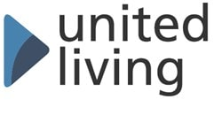 United living logo. The words united living in black with a bluew triangle to the right.
