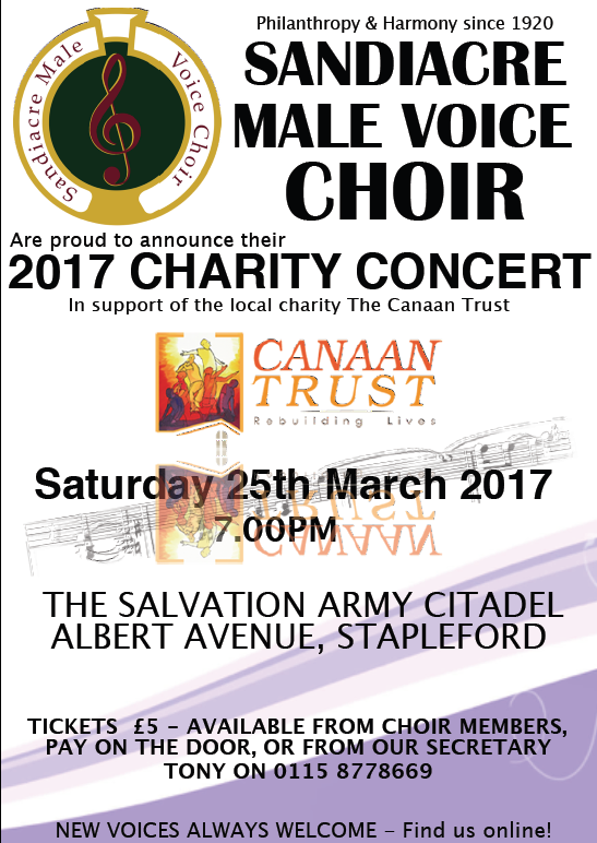 Sandiacre Male Voice Choir Annual Charity Concert event.
