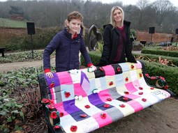 Hannah & Barney Birch with their knitted memories