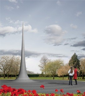 Spire Memorial Option surrounded by trees and poppies