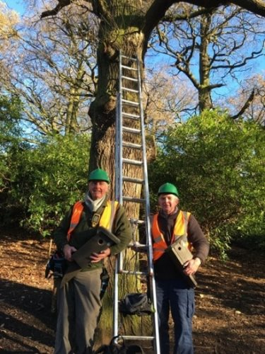 Volunteers John Revill and Antony Smith prepare to place bird boxes in Bramcote Hills Park.