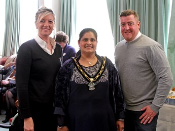 Mayor of Broxtowe Councillor Halimah Khaled MBe along with representatives from Novus who supported the Mayor's Charity this year