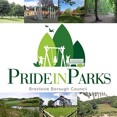 Pride in Parks Logo and images of parks, play areas, and woodland.