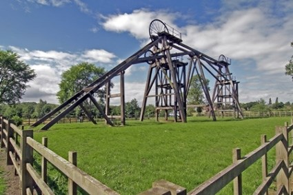 Brinsley Headstocks in the middle of a field