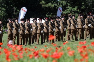 Soldiers from 170 (Infrastructure Support) Engineer Group in Hall Om Wong Park to coate the centenary of the end of the First World War.
