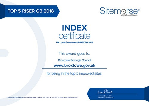 Sitemorse Certificate for being in the Top 5 Improved Sites