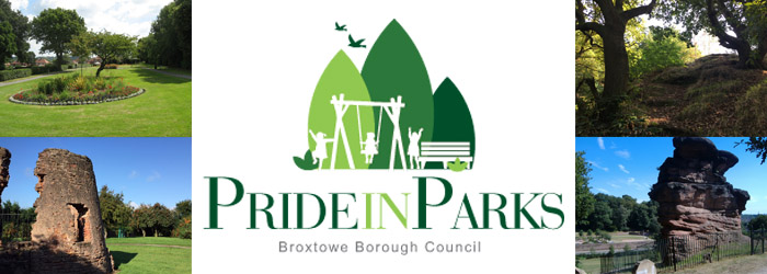 Pride in Parks Broxtowe Borough Council with pictures of local woodland, landmarks, and play areas
