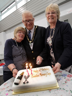 Janet Patrick From The Memory Café With The Mayor, Councillor Derek Burnett BEM And His Wife Sonia And Their Special 4th Birthday Cake