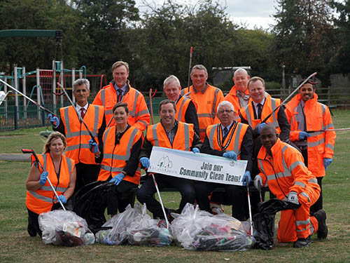 Deputy Mayor Councillor Michael Brown, Leader of the Council Councillor Richard Jackson and Chief Executive Ruth Hyde OBE join Council Officers for a litter pick at Dovecote Lane Recreation Ground in Beeston to launch the Clean and Green campaign.