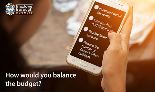 How would you balance the budget? A woman answering a survey on her phone with the options Increase council tax leves, Increase fees and charges, Provide fewer services, and Reduce the number of Council Office buildings.