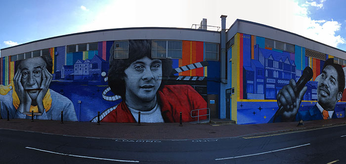 The Beeston Wall depicting Sir Paul Smith, Richard Beckinsale and Edwin Starr