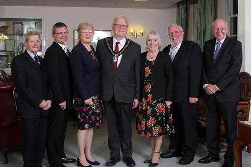 Brian Watson, Nigel Adams, Ellie Leatherland, John Booth, and Stan Heptinstall join the Mayor and Mayoress as they receive their Honours.
