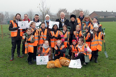 Pupils from various year groups at Fairfield's Primary Academy with the Mayor of Broxtowe, Councillor Derek Burnett BEM, Anna Soubry MP, Councillors and Council Officers attending the event