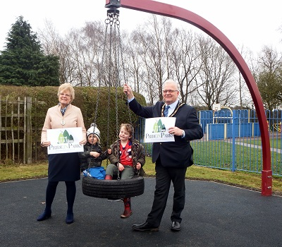 The Mayor and Mayoress help to open the refurbished play area at Brinsley Parish Hall