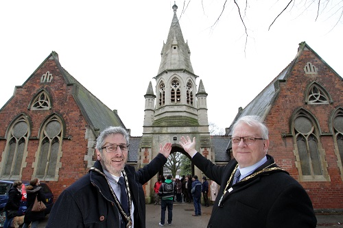 Mayors of Stapleford and Broxtowe at Bell Ringing at Stapleford Cemetery