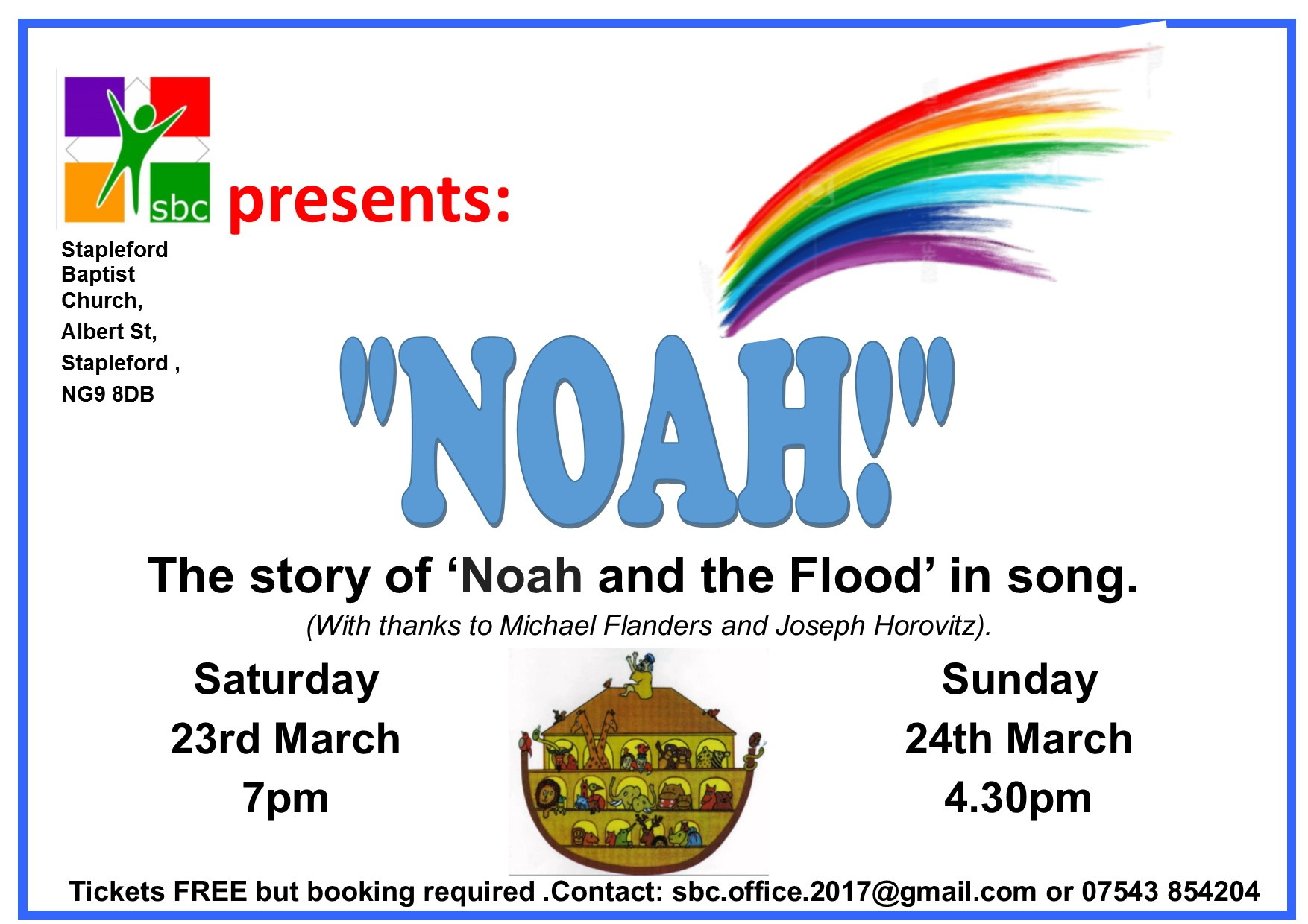 NOAH! The story of Noah and the ark in song . event.