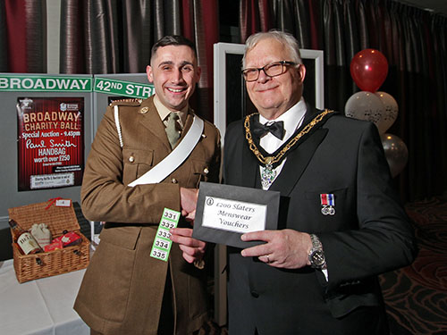 Guest of Honour, Ross Woodward, receiving his prize from the Mayor of Broxtowe, Cllr Derek Burnett BEM