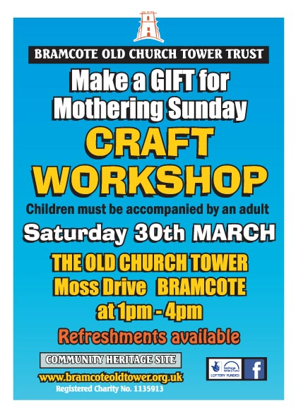 Bramcote Old Church Tower Trust GIFT MAKING FOR MOTHERING SUNDAY event.