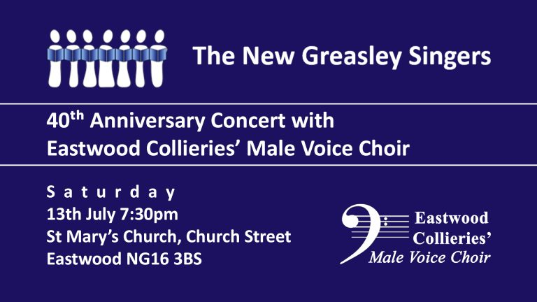 New Greasley Singers - 40th Anniversary Concert event.