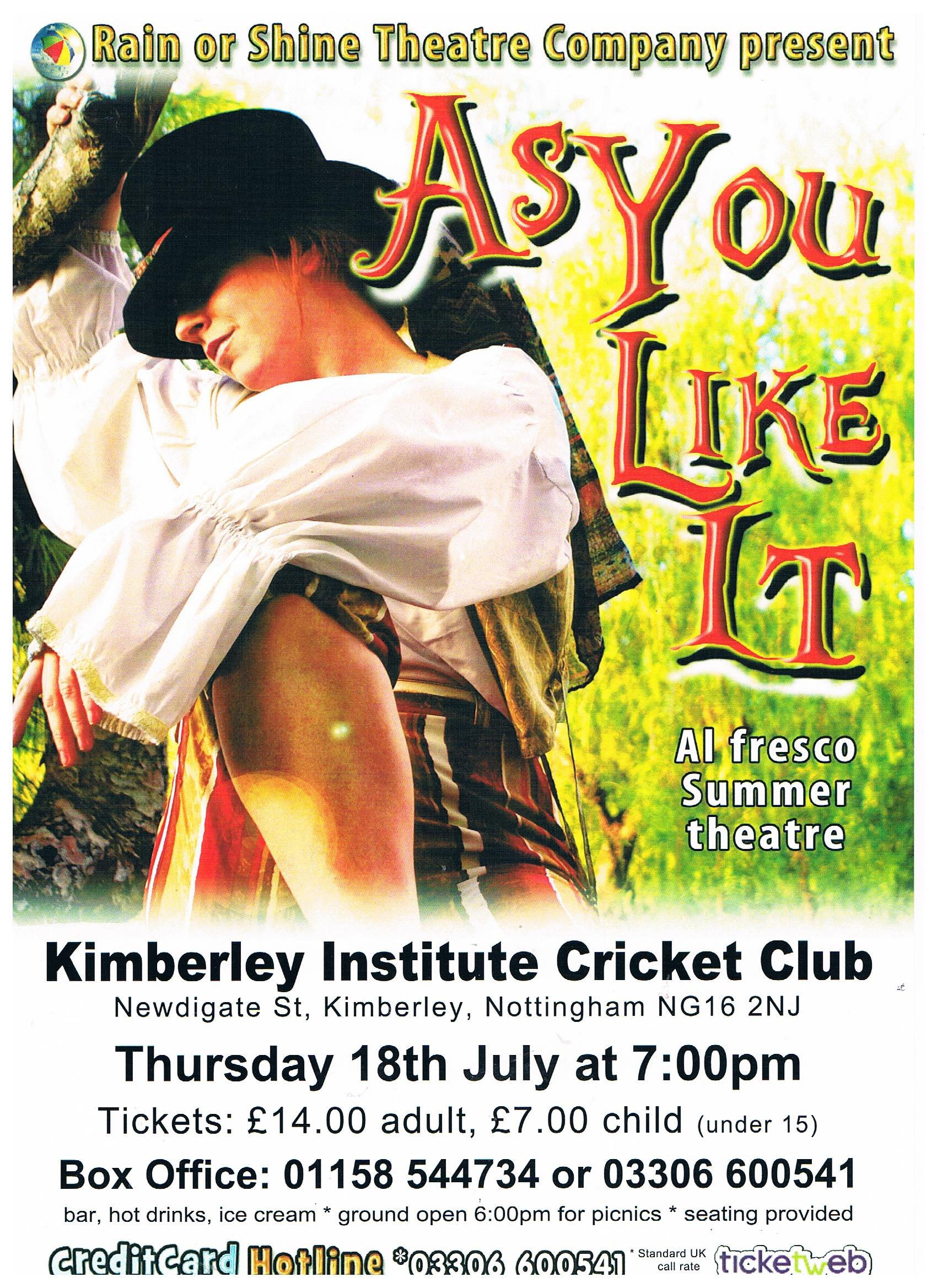 Open Air Shakespeare Play in Kimberley event.