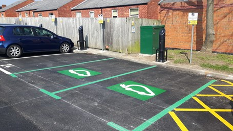 Picture of electric charging points in a Borough car park