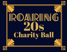 Art deco sign saying Roaring 20s Charity Ball