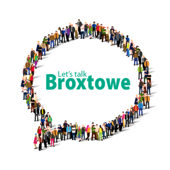Speech bubble made up of different people saying Let's Talk Broxtowe