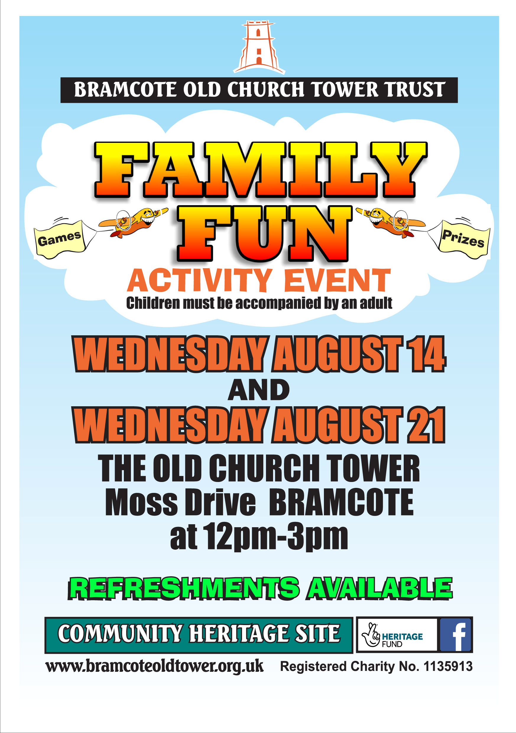 Bramcote Old Church Tower Trust FAMILY FUN DAY event.