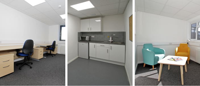 Office space, kitchen area and visitor waiting area at the business hub