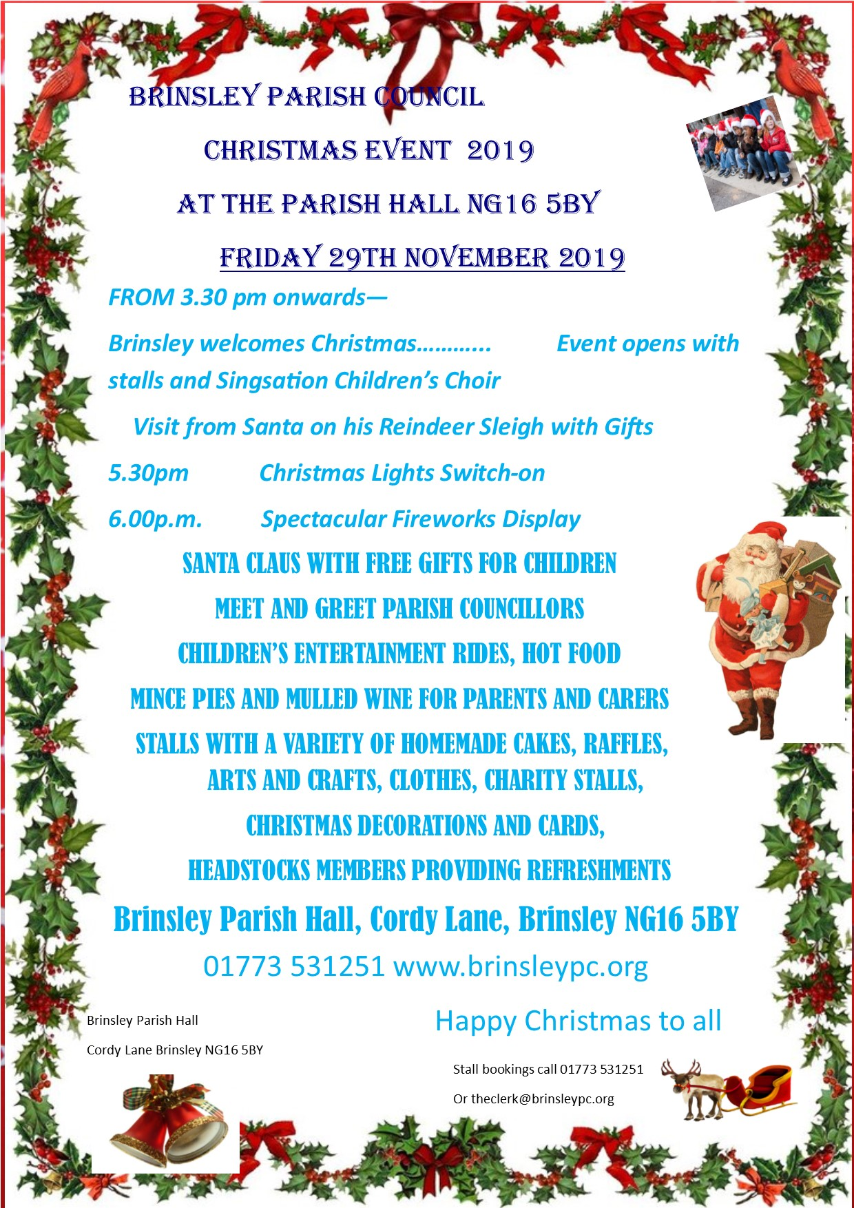 Brinsley Festive Lights Switch on 2019 event.