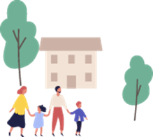 A cartoon of a family with a building and trees
