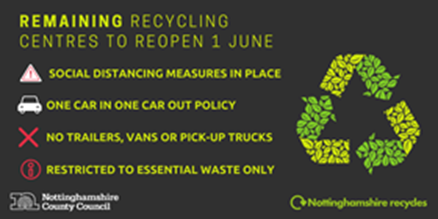 Household Recycle Centres reopening 1st June text