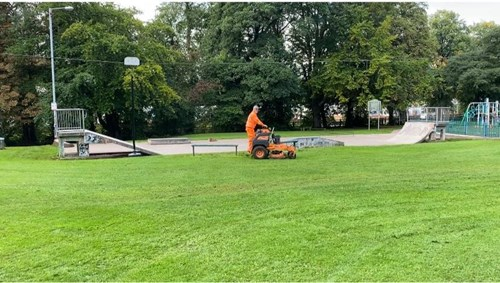 Man mowing at Hall Om Wong October 2020
