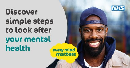 Man with text: discover simple steps to look after your mental health