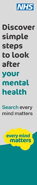 grey and green banner saying: discover simple steps to look after your mental health, search every mind matters