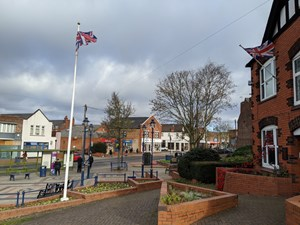 Stapleford Town Centre with Flag Pole
