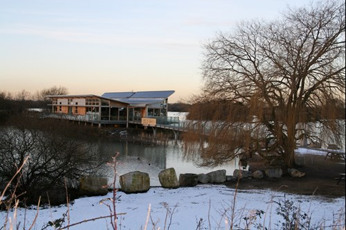 Attenborough nature reserve visitor centre on a snowy day