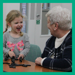 Creative Hands activity - young and old playing games together