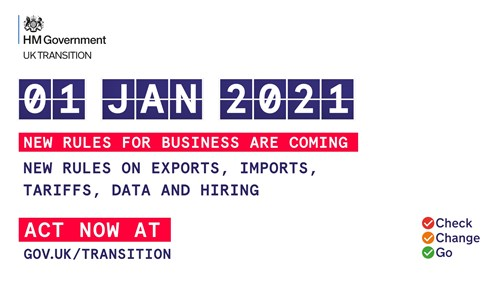 1 Jan 2021, new rules for business are coming. New rules on exports, imports, tariffs, data and hiring. Act now at gov.uk/transition. Check, change, go
