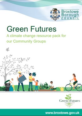 Front cover of Green Futures Community Resource pack with images of people recycling, riding a bike, gardening and a man holding a solar panel