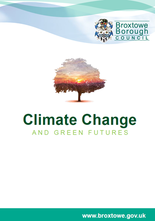 Climate Change and Green Futures Programme frot cover showing a tree with a sunset landscape inside