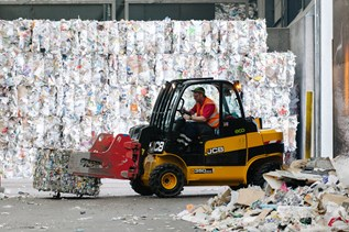 jcb forklift at recycling centre