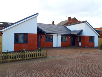 Outside of one of the new dementia bungalows